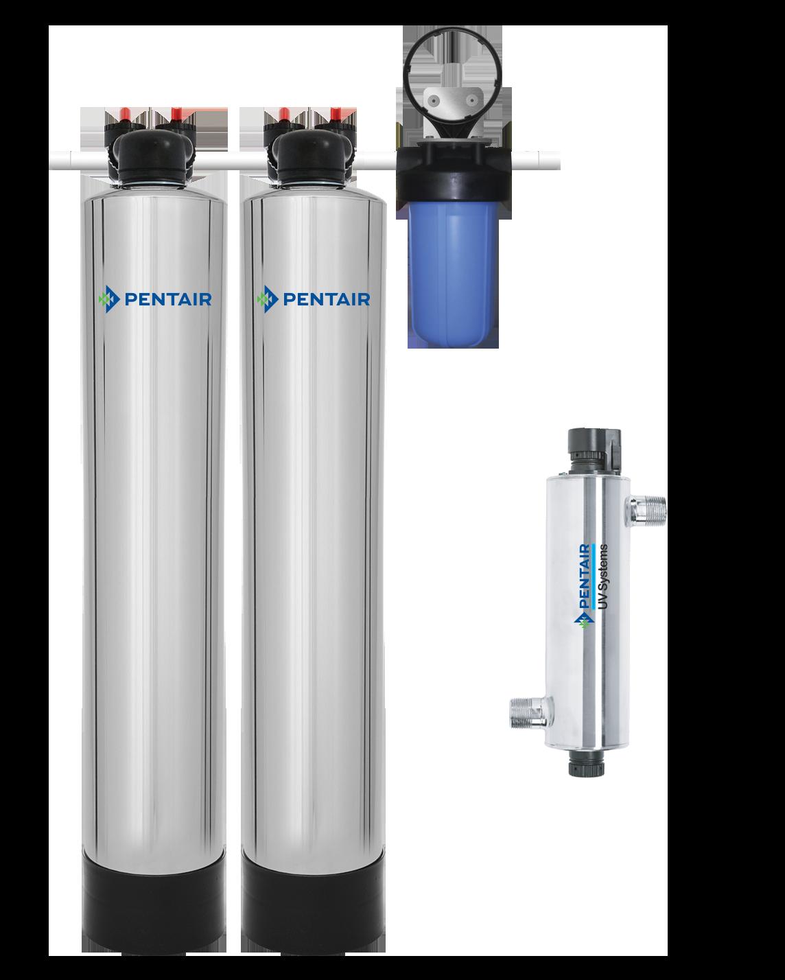 Water Filter & Pelican Water Softener Alternative Combo System + UV (4-6 Bathrooms)